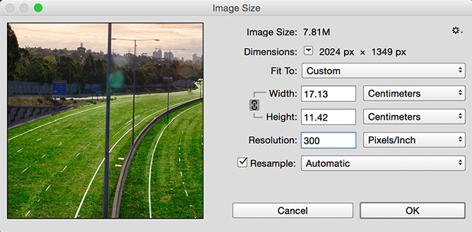 Image sizing interface in Photoshop.