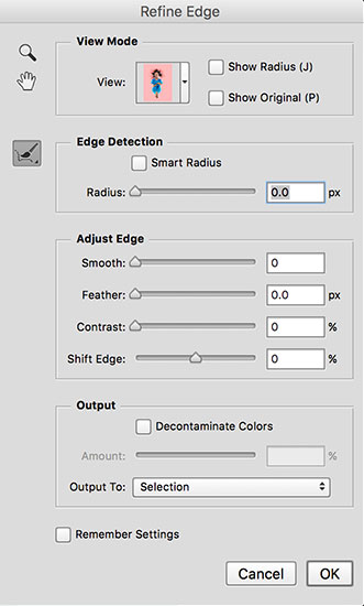 refine edge selection interface and how to use it.